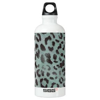 Leopard Skin in Minty Jade Aluminum Water Bottle