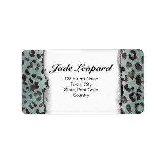 Leopard Skin in Minty Jade Custom Address Labels