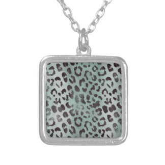 Leopard Skin in Minty Jade Silver Plated Necklace