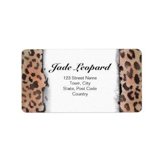 Leopard Skin in Tangerine Apricote Personalized Address Label