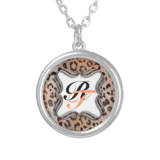 Leopard Skin in Tangerine Apricote Silver Plated Necklace