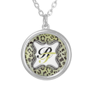 Leopard Skin in Tangerine Lime Green Silver Plated Necklace