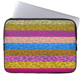 Leopard Skin Multicolor Stripe Pattern Laptop Sleeve