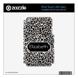 Leopard Skin Pattern Monogram MP3 Skin iPod Touch 4G Decals