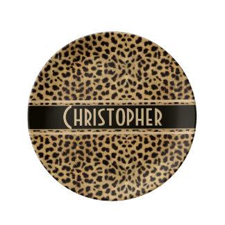 Leopard Skin Pattern Personalize Porcelain Plate