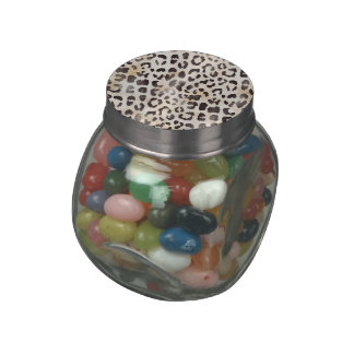 Leopard Skin Print in Natural Ivory Jelly Belly Candy Jar