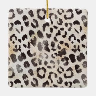 Leopard Skin Print  in Natural Ivory Ceramic Ornament