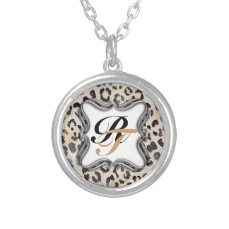 Leopard Skin Print  in Natural Ivory Silver Plated Necklace