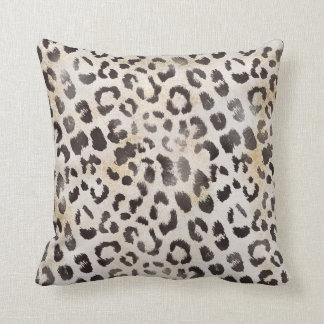 Leopard Skin Print  in Natural Ivory Throw Pillow