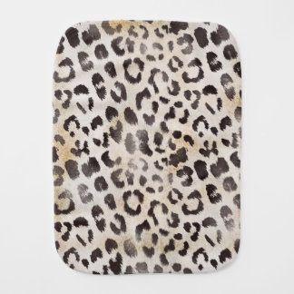 Leopard Skin Print in Natural Ivory Baby Burp Cloth