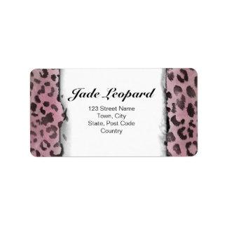 Leopard Skin Print in Pink Rose Address Label
