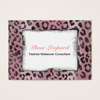 Leopard Skin Print in Pink Rose Business Card