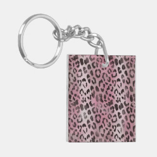 Leopard Skin Print in Pink Rose Double-Sided Square Acrylic Keychain