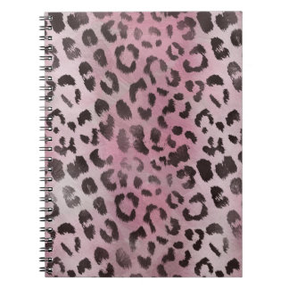 Leopard Skin Print in Pink Rose Spiral Notebook