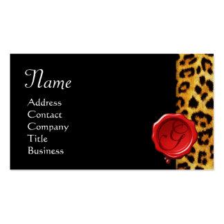 LEOPARD SKIN ,RED WAX SEAL MONOGRAM ,Black Business Card