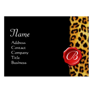 LEOPARD SKIN ,RED WAX SEAL MONOGRAM ,Black Large Business Card