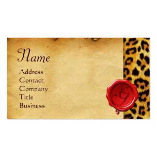 LEOPARD SKIN ,RED WAX SEAL PARCHMENT Monogram Business Card
