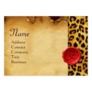 LEOPARD SKIN ,RED WAX SEAL PARCHMENT Monogram Large Business Card