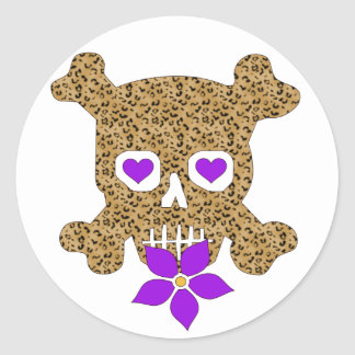 Leopard Skin Valentine Classic Round Sticker