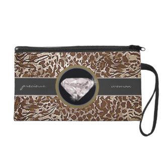 leopard skins imitation, jewel wristlet clutch