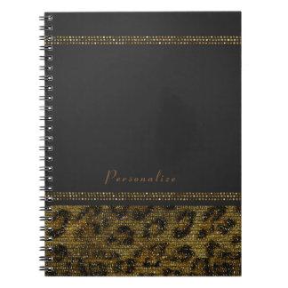 Leopard Sparkle Sequins Glam Chic Modern Cheetah Spiral Notebook