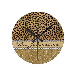 Leopard Spot Family Last Name Round Clock