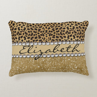 Leopard Spot Gold Glitter Rhinestone PHOTO PRINT Accent Pillow