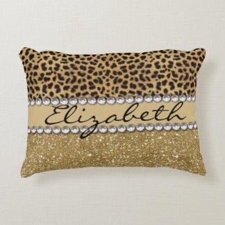 Leopard Spot Gold Glitter Rhinestone PHOTO PRINT Accent Pillow