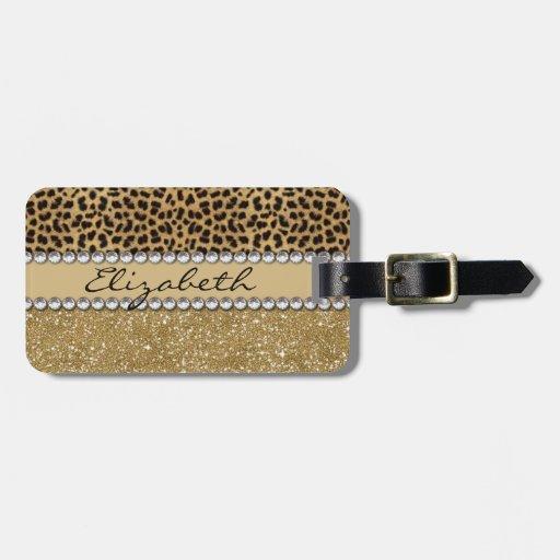 Leopard Spot Gold Glitter Rhinestone PHOTO PRINT Bag Tag