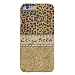 Leopard Spot Gold Glitter Rhinestone Photo Print Barely There Iphone 6 Case at Zazzle
