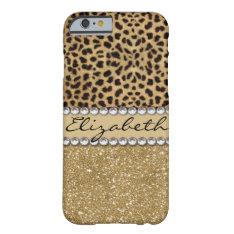 Leopard Spot Gold Glitter Rhinestone PHOTO PRINT Barely There iPhone 6 Case at Zazzle