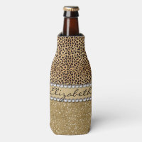 Leopard Spot Gold Glitter Rhinestone PHOTO PRINT Bottle Cooler