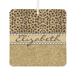 Leopard Spot Gold Glitter Rhinestone PHOTO PRINT Car Air Freshener