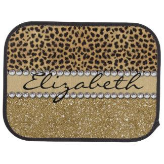 Leopard Spot Gold Glitter Rhinestone PHOTO PRINT Car Floor Mat