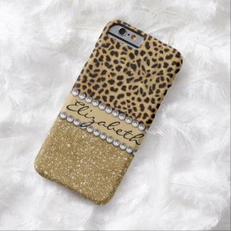 Leopard Spot Gold Glitter Rhinestone PHOTO PRINT iPhone 6 Case