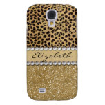 Leopard Spot Gold Glitter Rhinestone PHOTO PRINT Samsung Galaxy S4 Case