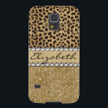 "Leopard Spot Gold Glitter Rhinestone PHOTO PRINT Case For Galaxy S5<br><div class=""desc"">This design is made with brown leopard spots and a gold glitter that sparkles on the bottom. The center is left for personalization / personalize surrounded with white diamond rhinestones. (Photo Printed)</div>"