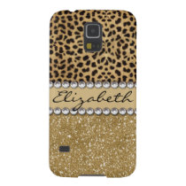 Leopard Spot Gold Glitter Rhinestone PHOTO PRINT Case For Galaxy S5