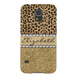 Leopard Spot Gold Glitter Rhinestone PHOTO PRINT Case For Galaxy S5