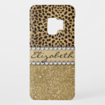 """Leopard Spot Gold Glitter Rhinestone PHOTO PRINT Case-Mate Samsung Galaxy S9 Case<br><div class=""""desc"""">This design is made with brown leopard spots and a gold glitter that sparkles on the bottom. The center is left for personalization / personalize surrounded with white diamond rhinestones. (Photo Printed)</div>"""