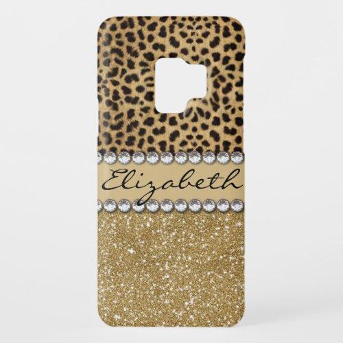 Leopard Spot Gold Glitter Rhinestone PHOTO PRINT Phone Case