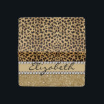 """Leopard Spot Gold Glitter Rhinestone PHOTO PRINT Checkbook Cover<br><div class=""""desc"""">This design is made with brown leopard spots and a gold glitter that sparkles on the bottom. The center is left for personalization / personalize surrounded with white diamond rhinestones. (Photo Printed). The back is ready to personalize and add a name,  address and phone number.</div>"""