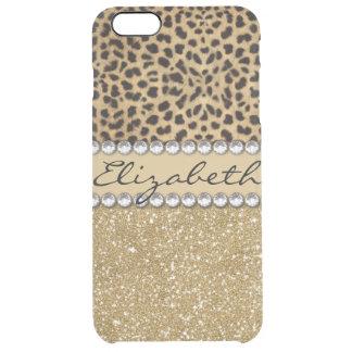 Leopard Spot Gold Glitter Rhinestone PHOTO PRINT Clear iPhone 6 Plus Case