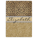 Leopard Spot Gold Glitter Rhinestone Photo Print Clipboard at Zazzle