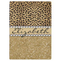 Leopard Spot Gold Glitter Rhinestone PHOTO PRINT Clipboard