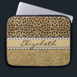 "Leopard Spot Gold Glitter Rhinestone PHOTO PRINT Computer Sleeve<br><div class=""desc"">This design is made with brown leopard spots and a gold glitter that sparkles on the bottom. The center is left for personalization / personalize surrounded with white diamond rhinestones. (Photo Printed)</div>"