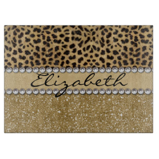 Leopard Spot Gold Glitter Rhinestone PHOTO PRINT Cutting Board