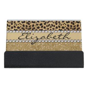 Rhinestone business card holders cases zazzle leopard spot gold glitter rhinestone photo print desk business card holder reheart Gallery