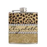 Leopard Spot Gold Glitter Rhinestone Photo Print Flask at Zazzle