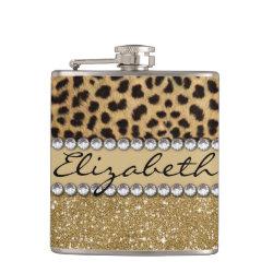 Leopard Spot Gold Glitter Rhinestone PHOTO PRINT Flask